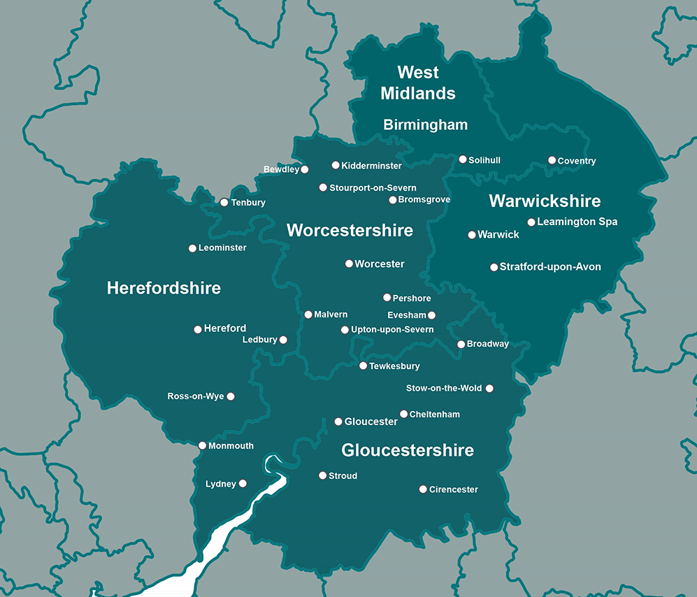 Areas we cover Herefordshire, Worcestershire, Gloucestershire, Warwickshire, Birmingham and the West Midlands