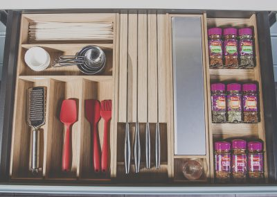 Oak Cutlery Tray, Knife Holder, Film Dispenser and Spice Rack