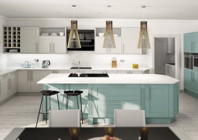 Midsomer Pale Grey and Grey Aqua - Painted Fusions Kitchens